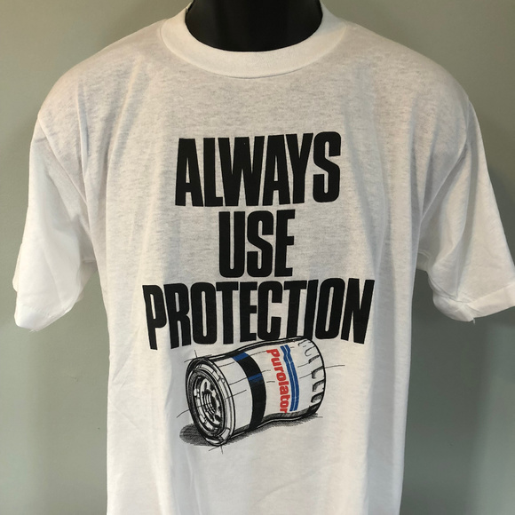 Vintage Other - 80s Always Use Protection Shirt Nascar Race Car